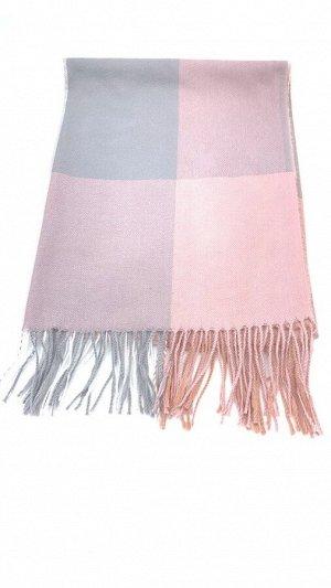 Шарф-11101 Материал: Кашемир; Цвет: Розовый , Серый; Фасон: Шарф Шарф крупная серо-розовая клетка кашемировый