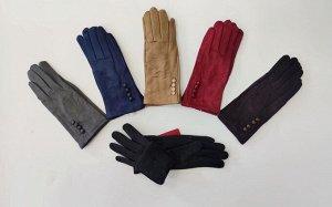 Перчатки женские, замшевые