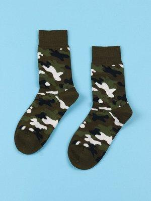 Мужские носки до середины голени с камуфляжным принтом