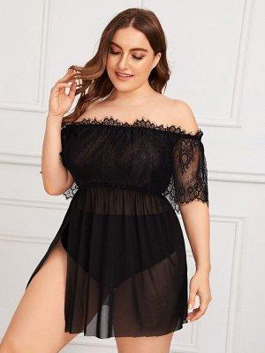 Прозрачное  Платье С Открытыми Плечами И Кружевом Plus size