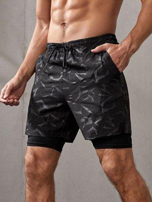 Мужские спортивные шорты с геометрическим принтом на кулиске