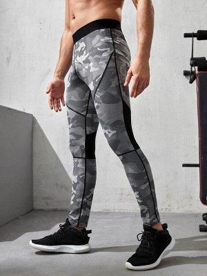 Мужские спортивные леггинсы с камуфляжным принтом