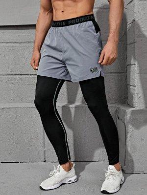 Мужские 2 в 1 спортивные брюки с текстовым принтом и карманом для телефона