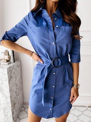 Платье-рубашка джинсовое 46-48-50р