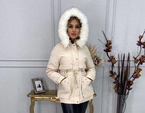 """Женская Одежда 19001 """"Парка - Однотон - Завязки Пояс"""" Светло-Бежевая"""