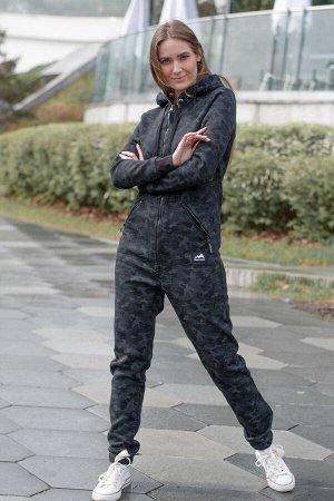 Комбинезон Siberian женский с начесом камуфляж серый