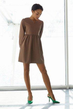 Свободное платье мини цвета мокко