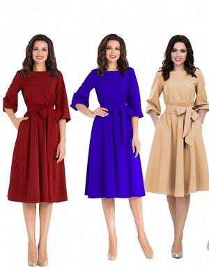 Элегантное платье кофейный и синий цвет 50-52-54р