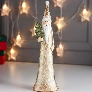 "Сувенир полистоун ""Дед Мороз в золотой шубе с морозными узорами, с ёлкой"" 28х6х8 см"
