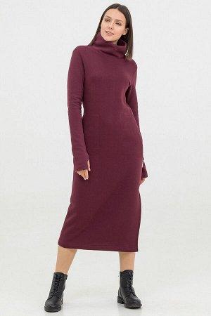 Платье Antera длинное с начесом бордовое