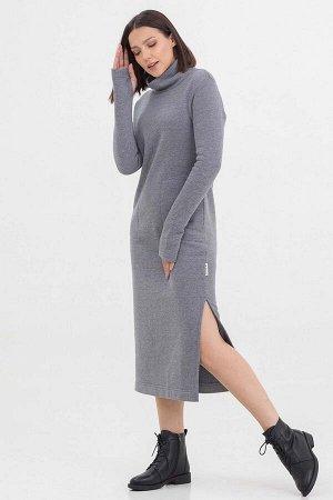 Платье Antera длинное с начесом серый меланж