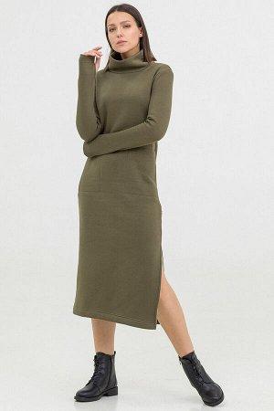 Платье Antera длинное с начесом хаки
