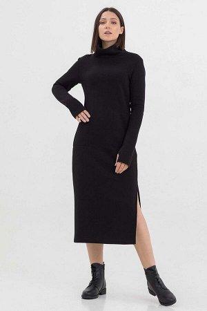 Платье Antera длинное с начесом черное