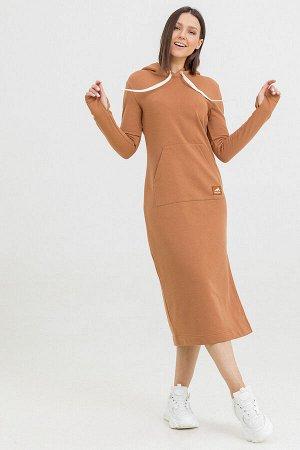 Платье Kindia длинное с капюшоном кэмел