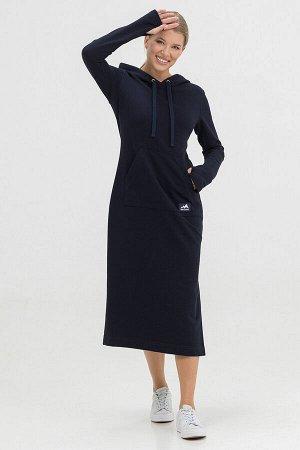 Платье Kindia длинное с капюшоном темно-синее