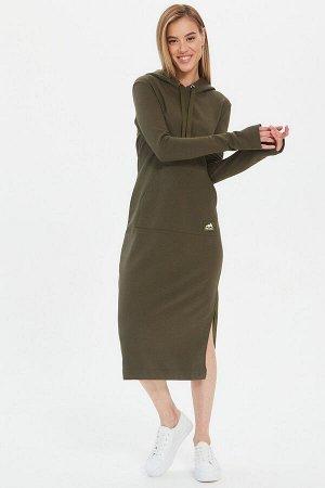 Платье Kindia длинное с капюшоном хаки