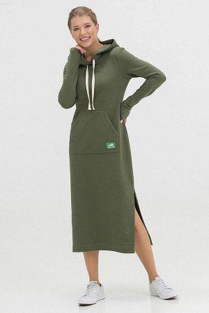 Платье Kindia длинное с капюшоном оливковое