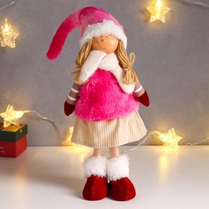 """Кукла интерьерная """"Малышка с хвостиками, в меховом розовом жилете и колпаке"""" 50 см"""