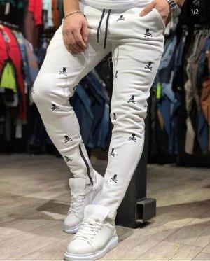 """Мужские спортивные штаны 5005 """"Мелкие Черепа"""" Белые"""