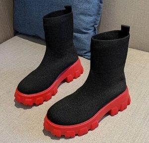 Ботинки осенние, иск кожа , текстиль красно-черный