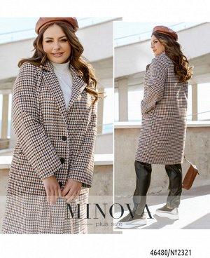 Пальто №2321-коричневый-черный