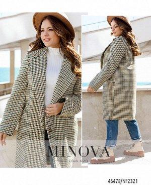Пальто №2321-зеленый-коричневый