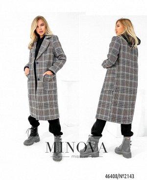 Пальто №2143-бежевая-клетка