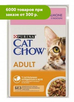Cat Chow влажный корм для кошек Лосось+зеленая фасоль в желе 85гр пауч