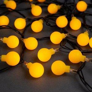 """Гирлянда """"Нить"""" 5 м с насадками """"Шарики жёлтые"""", IP20, тёмная нить, 30 LED, свечение жёлтое, 8 режимов, 220 В"""