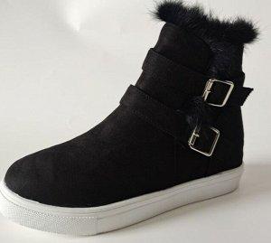 Ботинки осенние из иск. замши, черный