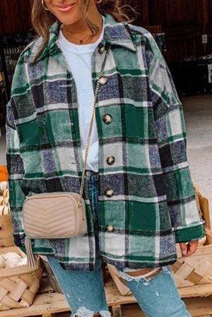 Зеленая куртка-рубашка в шотландскую клетку