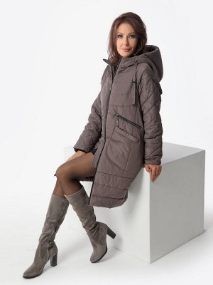Пальто серо-коричневый