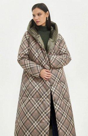 Пальто  (В наличии у поставщика размеры44,46,48,50,52 Хаки, клетка бежевый;)