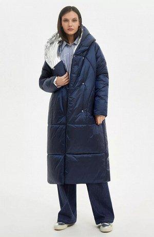Пальто  (В наличии у поставщика размеры42,44,46,48 Синий, серебро;)