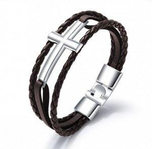 """Мужской кожаный браслет, """"крест"""", цвет стальной/коричневый (бижутерия)+коробка"""