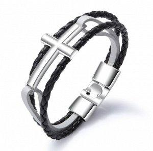 """Мужской кожаный браслет, """"крест"""", цвет черный/белый (бижутерия)+коробка"""