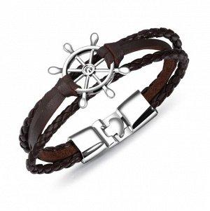 """Мужской кожаный браслет, """"штурвал"""", цвет коричневый/стальной (бижутерия)+коробка"""