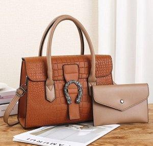 """Женская сумка+кошелек, тиснение """"крокодиловая кожа"""", цвет коричнево-оранжевый/коричневый"""