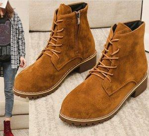 Ботинки осенние из иск. замши, коричневый