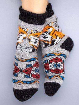 Носки шерстяные женские, рыжая лисичка, серый женский универсальный (разм: 36-40)