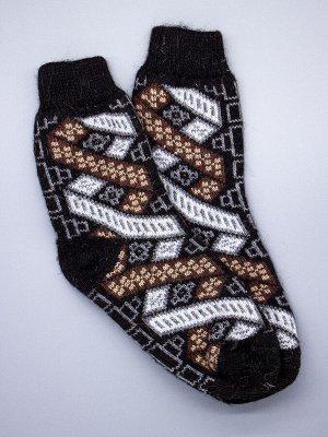 Носки мужские шерстяные, коричневые и белые ромбики, полоски, черный мужской универсальный (разм: 41-45)