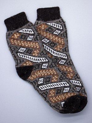 Носки мужские шерстяные, коричневые и белые ромбики, полоски, серый мужской универсальный (разм: 41-45)