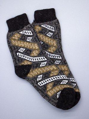 Носки мужские шерстяные, коричневые и белые ромбики, полоски, темно-серый мужской универсальный (разм: 41-45)