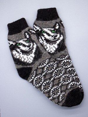 Носки шерстяные мужские, хаски с зелеными глазами, узоры, темно-серый мужской универсальный (разм: 41-45)