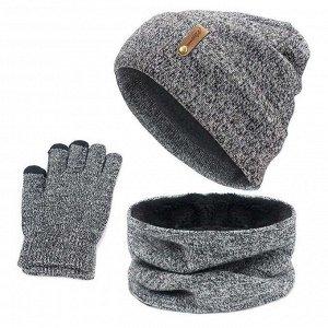 """Вязаная шапка, перчатки, снуд """"Кашемир в точку с этикеткой"""", цвет серый"""