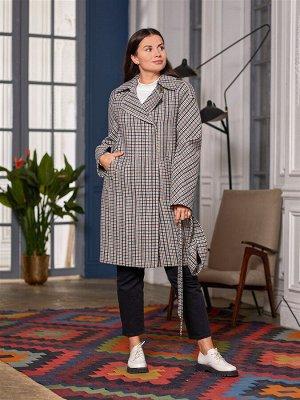 Пальто Ткань верха: Твид клетка (шерсть 60%, вискоза 30%, полиэстер 10%,)  Демисезонное укороченное женское прямое пальто с английским воротником, позволяет оставаться элегантной в любом стиле и при л