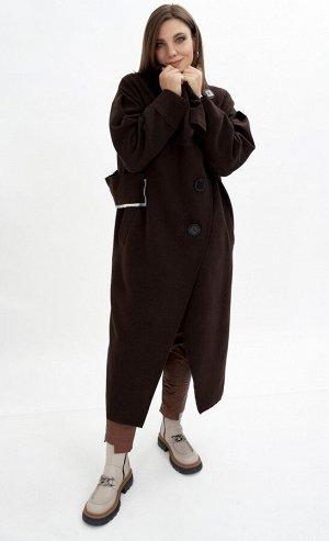Пальто Пальто GRATTO 5101 шоколад  Состав: Пальто: Вискоза-33%; ПЭ-30%; Шерсть-37%; Подкладка: ПЭ-100%; Сезон: Осень-Зима Рост: 170  Пальто элегантного цвета темного шоколада, осеннее не подкладке от
