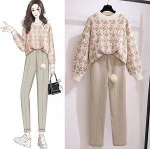 """Женский костюм (теплые брюки+пуловер, принт """"цветы""""), цвет бежевый/белый"""