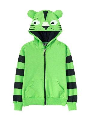 """Толстовка с капюшоном для мальчиков """"Funny cat green"""", цвет Зеленый"""