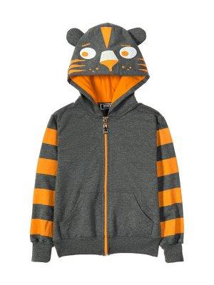 """Толстовка с капюшоном для мальчиков """"Funny cat grey"""", цвет Серый"""